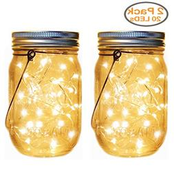Solar Mason Jar Lantern Lights,2 Pack 30 Led String Fairy Fi