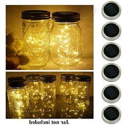 6 Pack Mason Jar Lights, 20 LED Solar Warm White Fairy Strin