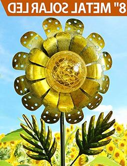 "BRIGHT ZEAL 8"" Large METAL & GLASS Solar Sunflower Yard Art"