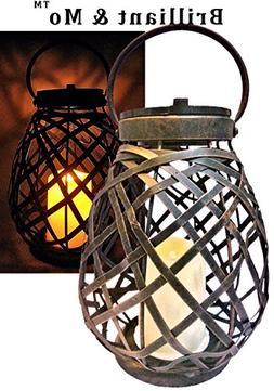 Brilliant & Mo Metal Rattan Solar Hanging Lanterns for Outdo
