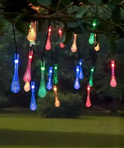 MULTICOLORED 20-COUNT SOLAR RAINDROP STRING LIGHTS PORCH PAT