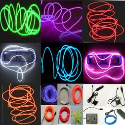 Neon LED Light Glow EL Wire String Strip Rope Tube Decor Car