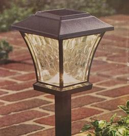 NEW Hampton Bay  Solar Black LED Metal Glass Square Path Lig