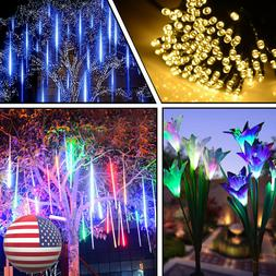 New Year Home Décor Solar Lily Flowers Lights Meteor Shower