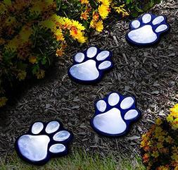 NICE 4 solar dog animal paw print Lights garden lantern LED