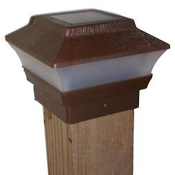 One Solar Fence Post Cap Light - Brown Wood Grain  - For 4x4