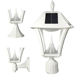 OPEN BOX Gama Sonic Baytown II Solar Light Wall Deck Pole WH
