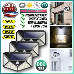 Outdoor 100 LED Solar Wall Lights Security Motion Sensor Gar