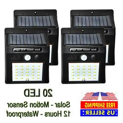 Outdoor 20 LED Solar Wall Lights Power PIR Motion Sensor Gar