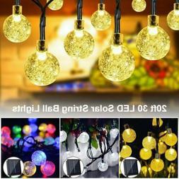 Outdoor 20ft 30 LED Solar String Ball Lights Waterproof Warm