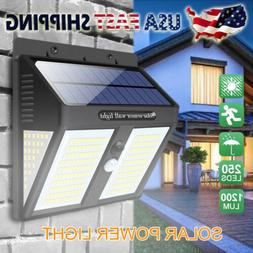 Outdoor 250 LED Solar Power Lights PIR Motion Sensor Wall La