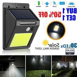 Outdoor 30 LED Solar Wall Lights Power PIR Motion Sensor Gar
