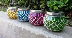 Outdoor Garden Solar Mosaic Glass Decor Pot Landscape Path L