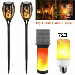 Outdoor LED Solar Flame Torch Light Flickering Flame Dancing