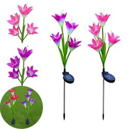 Outdoor Solar Garden Stake Lights Lily Flowers LED Solar Gar