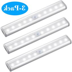 10 LED Motion Sensor Closet Lights Cordless Under Cabinet Li