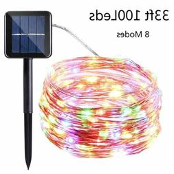 Outdoor Solar Power 100 LED Copper Wire Fairy String Lights