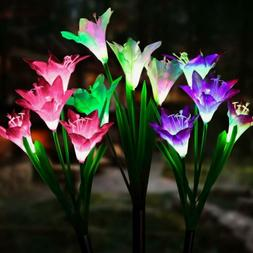 Outdoor Solar Power Garden Stake Lights  Lily Rose LED Flowe