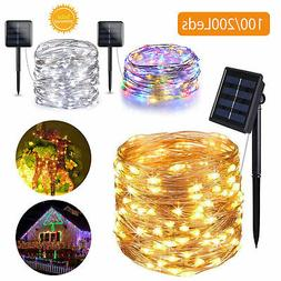 Outdoor Solar Powered 10M 33Ft 100 LED Copper Wire Light Str