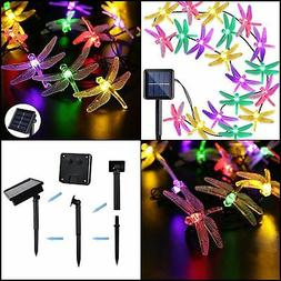 Outdoor Solar Powered 30 LED Dragonfly String Light Garden P
