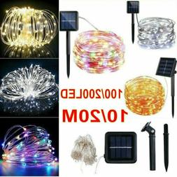 Outdoor Solar Powered String Lights 100/200 LED Fairy Copper