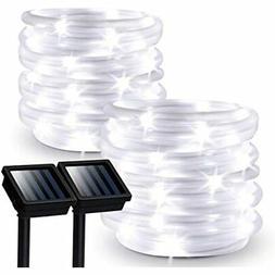Outdoor Solar Rope Lights, 2 Pack Powered Waterproof Tube Wi