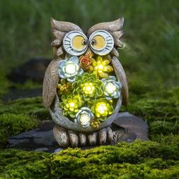GIGALUMI Owl Garden Statues Solar Lights Resin  Plants 7LED