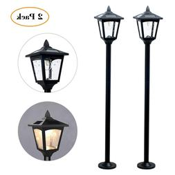 Pack of 2 Solar Lamp Post Lights Outdoor, Solar Powered Vint