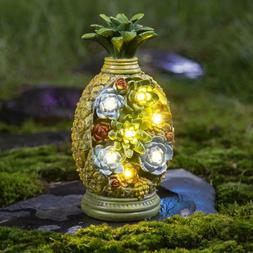 GIGALUMI Pineapple Garden Statues Solar Light Resin 7LED Out