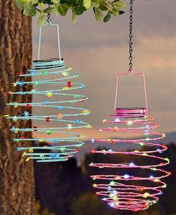 Pink or Blue SOLAR SPIRAL LIGHTS Porch Patio Deck Garden Tre
