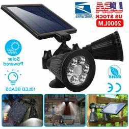PIR Motion Sensor Solar Lights 12LEDs Dual Head Spotlights O
