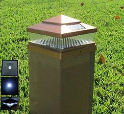 Plastic Copper 6x6 Outdoor 5 LED 78lumens Solar Light Post C