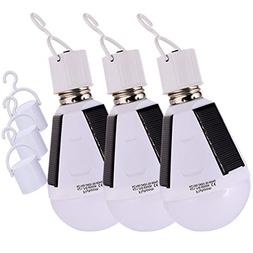 Flyhoom 3 Pack Portable Solar Powered LED Lantern Tent Light