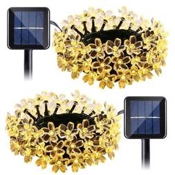 Qedertek Solar String Lights Flower, 2 Pack 22ft 50 LED Wate