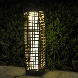 Rattan Solar Powered Lamp LED Lantern Garden Patio Wicker Fl