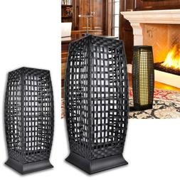 Rattan Solar Powered Lamp LED Lantern Garden Patio Wicker Fl