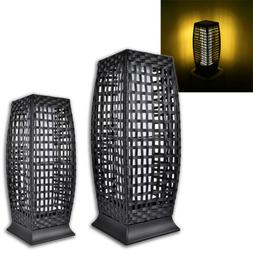Rattan Solar Powered Lamp Warm White LED Lantern Garden Pati