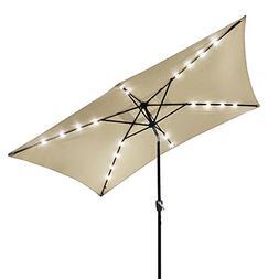 10'x6.5' Patio Outdoor Aluminum Umbrella Solar LED Light Cra