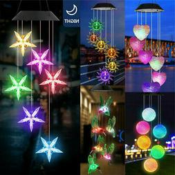 retro solar powered wind chimes color changing