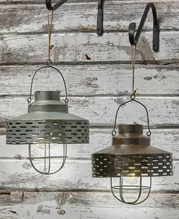 Rustic Olive Bucket Solar Light Farmhouse Lantern Porch Pati