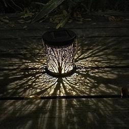 Whitelotous 2pcs/Set Metal Rattan Solar LED Hanging Lantern