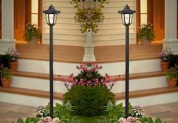 Set Of 2 Garden Solar Lamp Post Lawn Yard Patio Walkway Outd