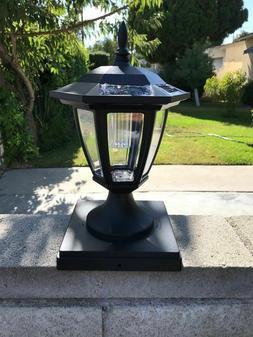 Set Of 2 Solar Black Hexagon Cap Light With White SMD LED Fo