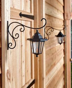 Set of 2 Solar Lanterns Lights w/ Hanging Brackets Outdoor P