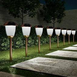 Set of 8 Solar Pathway LED Lights Stainless Steel Copper Fin