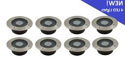 Solar 4 White LED Round Recessed Deck Dock Patio Light