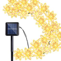 Qedertek Solar Christmas Lights Lotus Flower, 19ft 30 LED Wa