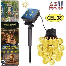 Solar Crystal Ball String Lights 30 LED Fairy Home Garden Pa