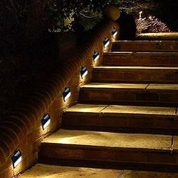 6 Pack Solar Powered Wall Light 6 LED Outdoor Stair Step Lig
