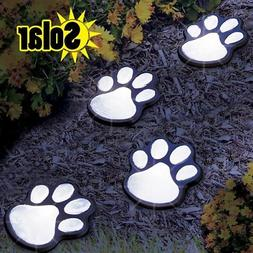 SOLAR LED DECORATIVE PAW PRINT GARDEN LIGHTING - SET OF 4